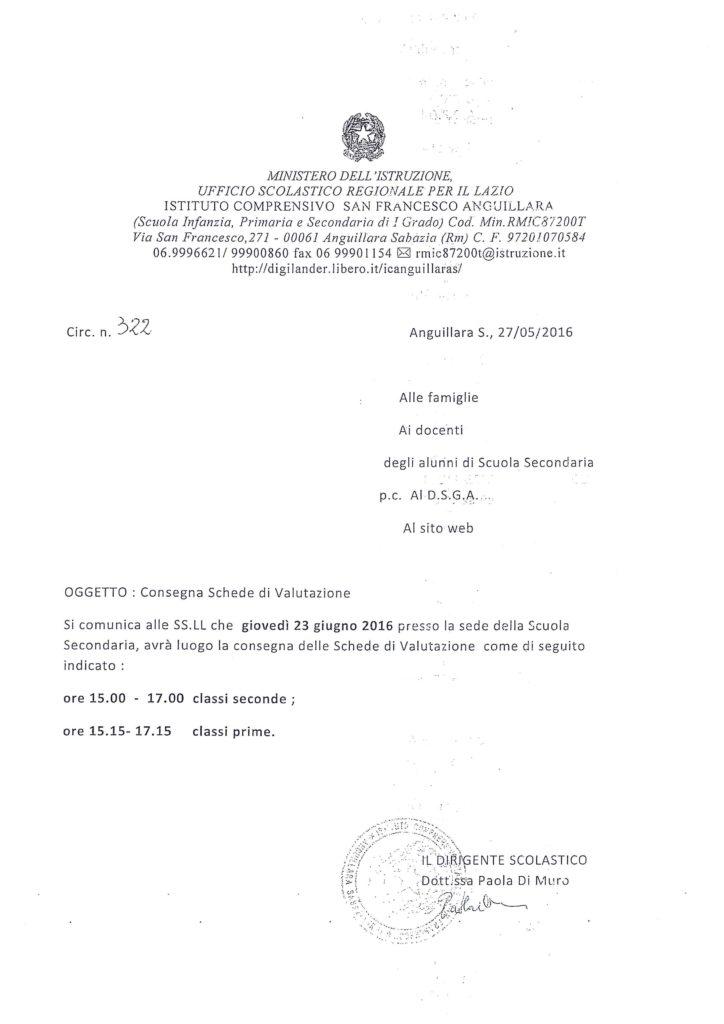 322 - consegnaschedevalutazionesecondariaprimogrado2015.16